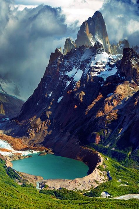 Mount Fitz Roy,  in the Southern Patagonian Ice Field in Patagonia, on the border between Argentina and Chile.