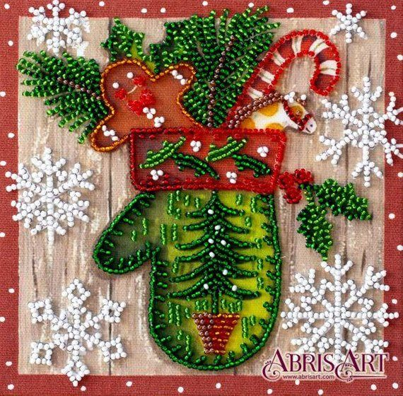 Diy Bead Embroidery Kit Christmas Bead Kit Mitten Diy Gift Idea Needlepoint Kits Home Decor Embroidery A Diy Bead Embroidery Christmas Bead Embroidery Kits