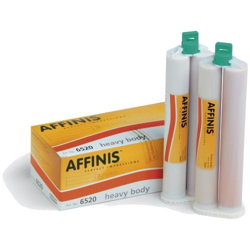 Coltene. Affinis Heavy Body 2x75ml. AFFINIS is a dental impression material for use in dentistry with an automatic mixing device.  AFFINIS heavy body The high consistency and rapid build up of pressure for AFFINIS heavy body produces strong compression, making this tray material ideal for the one-step putty/wash technique. Buccal and palatal areas can also be easily reproduced with AFFINIS heavy body.