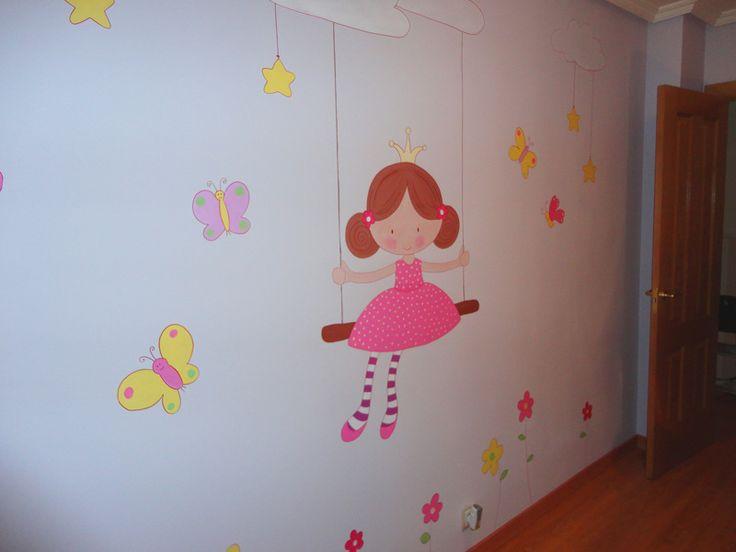 Mural infantil ni a en columpio mariposas y flores de for Mural de flores y mariposas