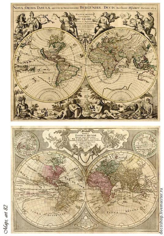"""Купить № 82 рисовая бумага для декупажа """"карты мира"""" - рисовая бумага"""