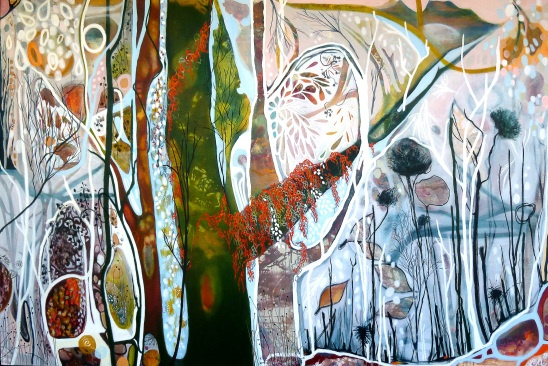 "Lisa Morgan ""Autumn, Sliding Into Winter, Cradle Mountain Plateau"" 180x120cm (cbeo) Acrylic, Oil Stick and Charcoal SOLD"