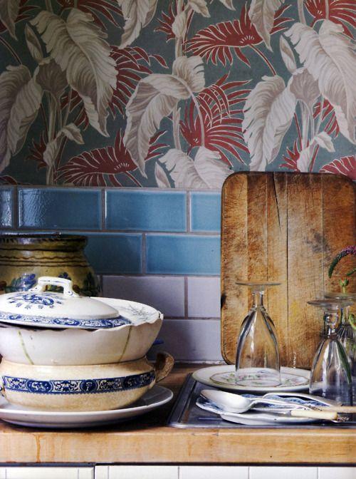 kitchen, wallpaper, tiles, wood