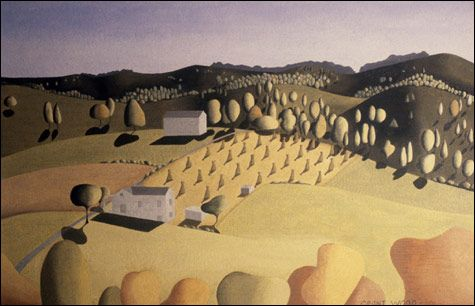 """Sheaves of Corn"", 1931, oil on wood panes by Grant Wood (1892 – 1942)"