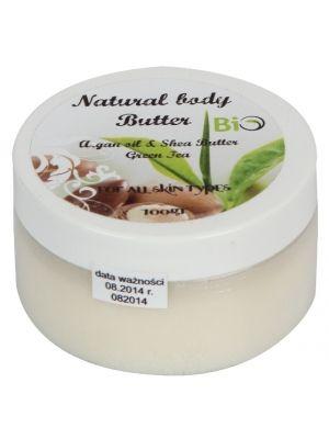 MASŁO SHEA 100g z olejkiem arganowym o zapachu zielonej herbaty BIO  • w 100% naturalne • piękny aromat zielonej herbaty • niezwykłe właściwości nawilżające • zapobiega starzeniu się skóry • wydajne • do każdego typu skóry