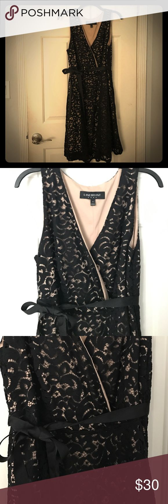 Black and Tan, lace dress, knee length. Black and Tan, lace dress, knee length, great for wearing a normal bra, only worn once, size 14 from Layne Bryant. layne bryant Dresses