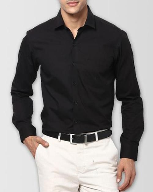 a161084e5 Mens Cotton Black Plain Shirt   Dress Shirts By Tommy Hilfiger