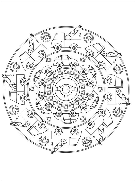 Free Large Mandala Coloring Pages   Free mandala coloring page with cars. Printable page with mandala cars ...