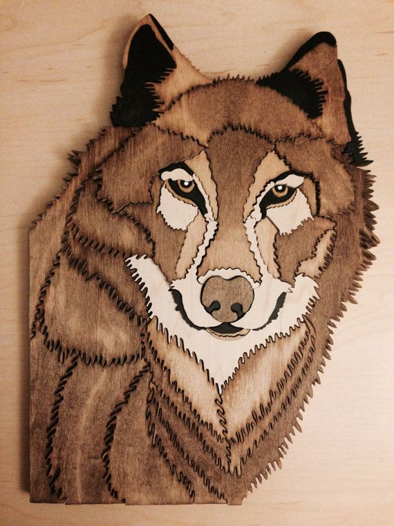 """Gorgeous wolf made from 1/2"""" wood by Wood Art by TAM."""