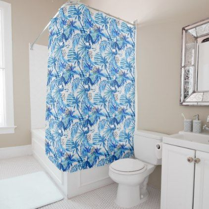 Bright Blue Tropical Watercolor Pattern Shower Curtain - shower curtains home decor custom idea personalize bathroom