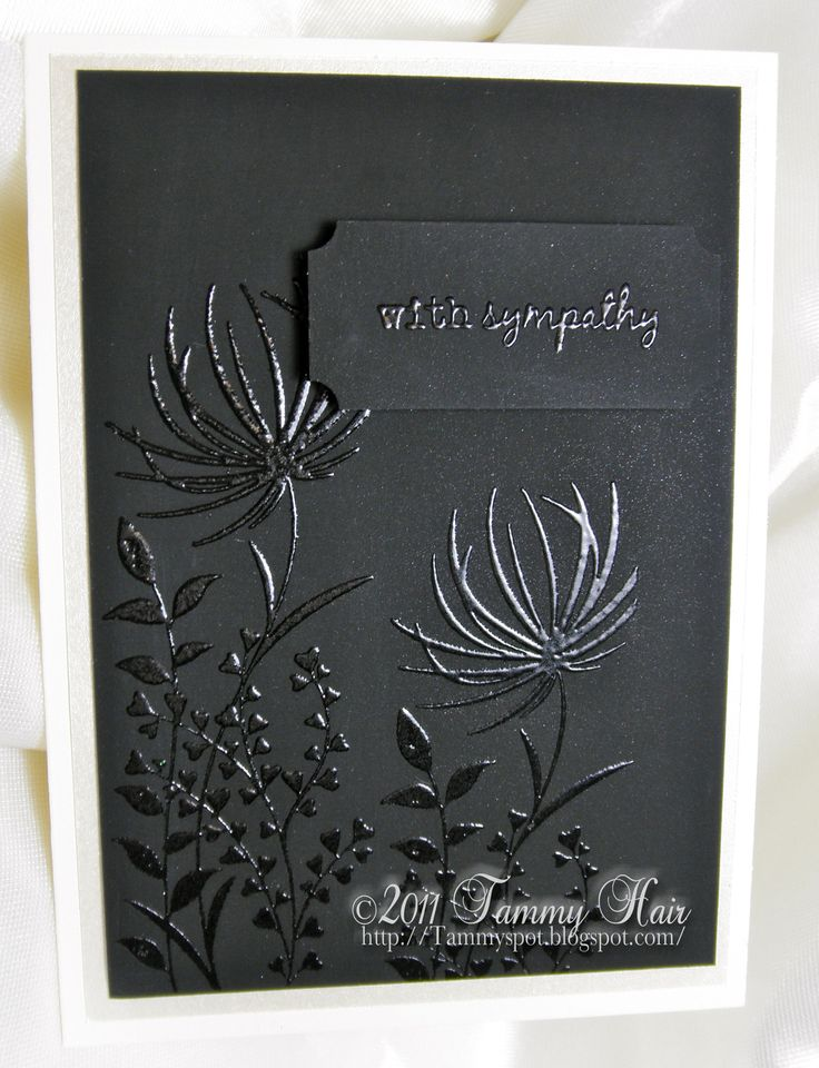 I always have a hard time coming up with sympathy cards... this one looks simple and fast, yet elegant. very nice.: