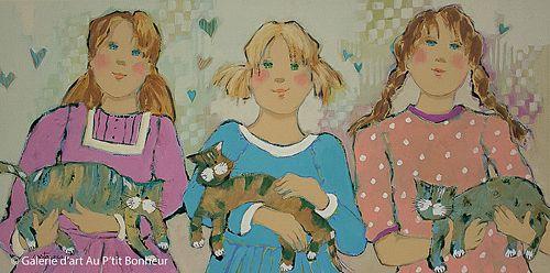 Claudette Castonguay, 'Nos meilleurs amis...', 12'' x 24'' | Galerie d'art - Au P'tit Bonheur - Art Gallery