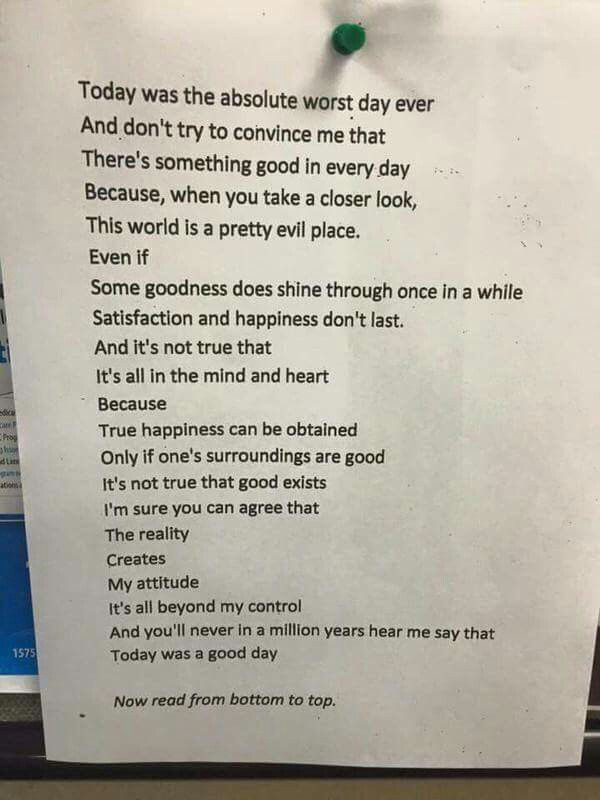 Read this from the top down, and then from the bottom up. This was written by a 14 year old!