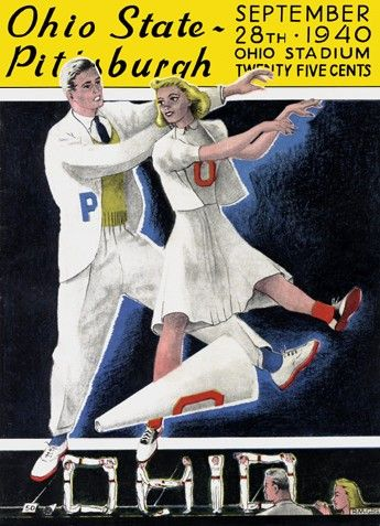 1940 Ohio State cheerleaders leading on the Buckeyes. Vintage game program. HistoricFootballPostersBlog.com