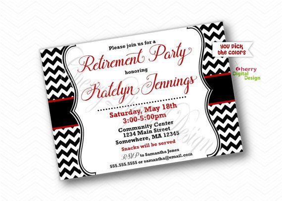 Chevron Retirement Party Invitations.  by CherryDigitalDesign