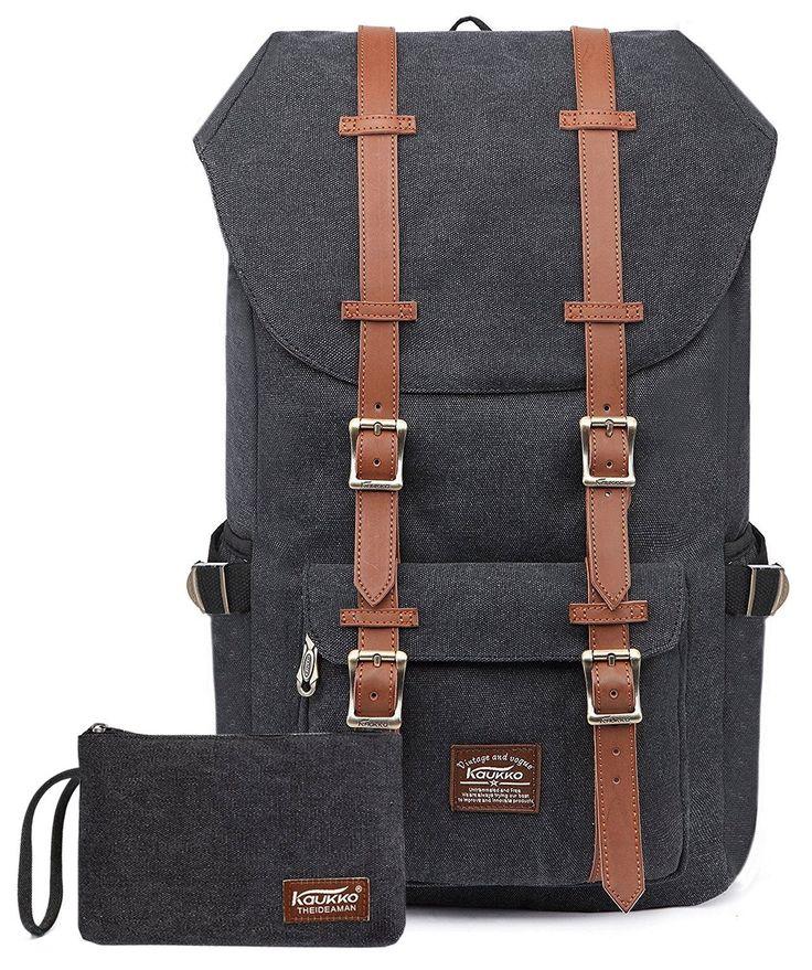 KAUKKO Portable Outdoor Rucksack Fits 15-17 zoll Laptop Vintage Canvas Bags Schwarz[2PCS]: Amazon.de: Koffer, Rucksäcke & Taschen