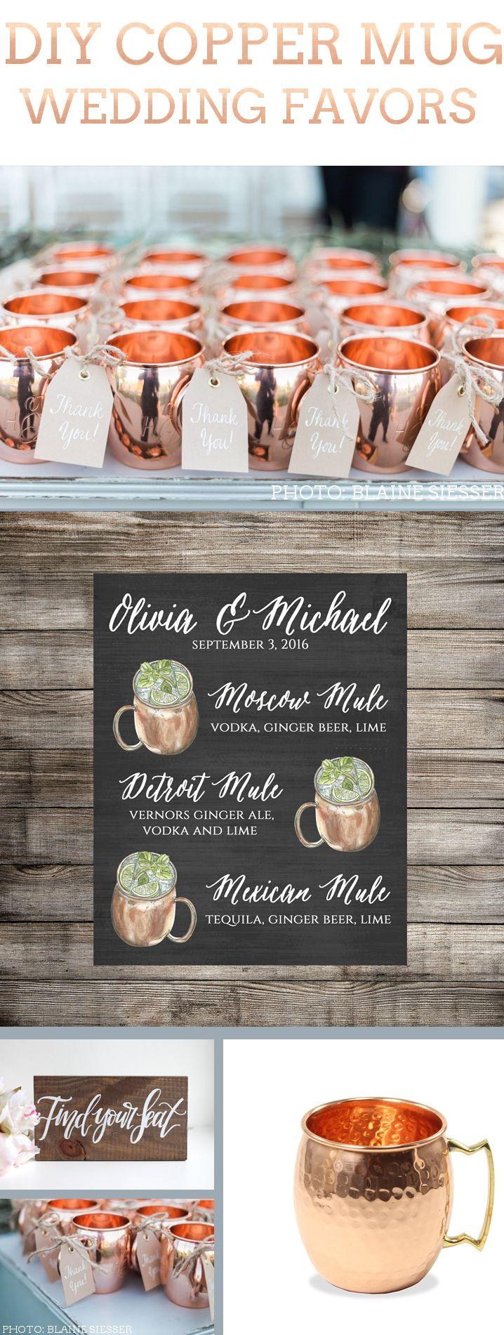 DIY Copper Mug Wedding Favors << Emma Line Bride