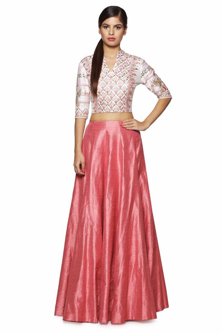 Odion Pink Crop Top & Skirt - waliajoness - 1
