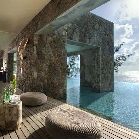 Four Seasons Resort, Seychelles by HBA - love the simplicity of the materials/colors juxtaposed with the colorful and ever-changing exterior view