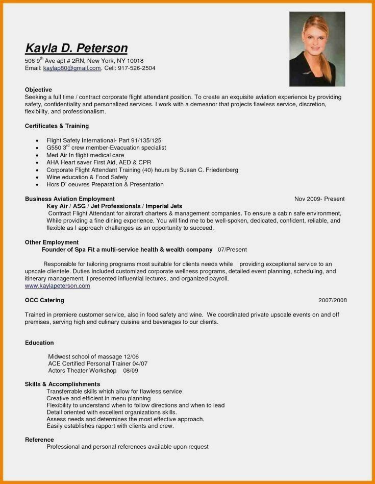 Resume Example With Headshot Photo Cover Letter 1 Page Word Resume Design Diy Cv Examp Flight Attendant Resume Professional Resume Examples Resume Examples