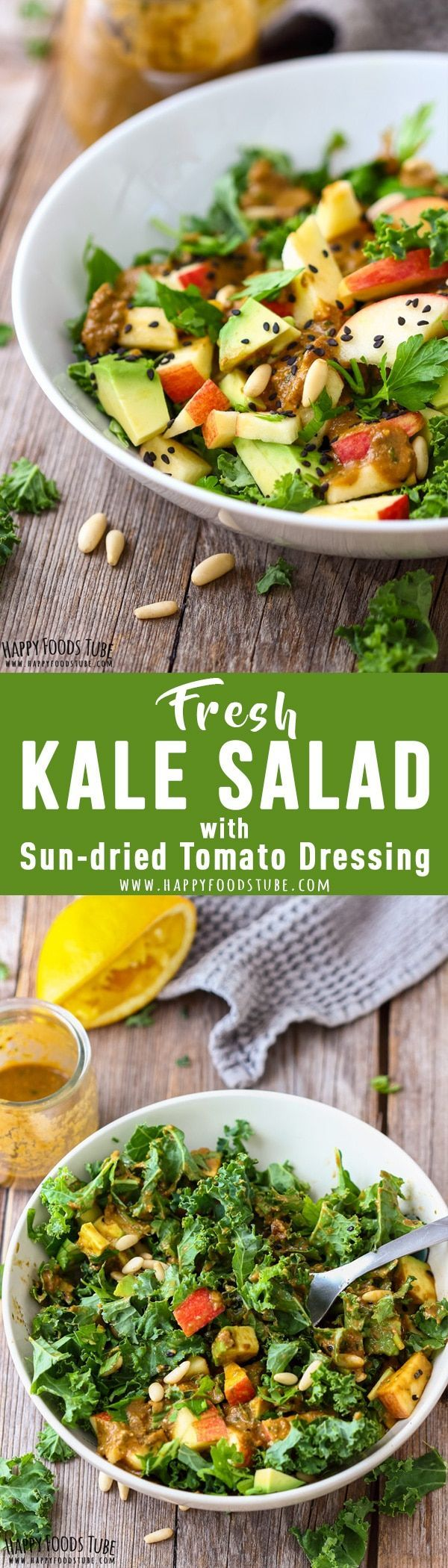 Fresh kale salad with sun-dried tomato dressing is healthy and delicious at the same time. Packed with nutrients this salad is a must try this New Year! #kale #salad #dressing #recipes #raw #detox #healthy #sundried #tomato #newyear via @happyfoodstube