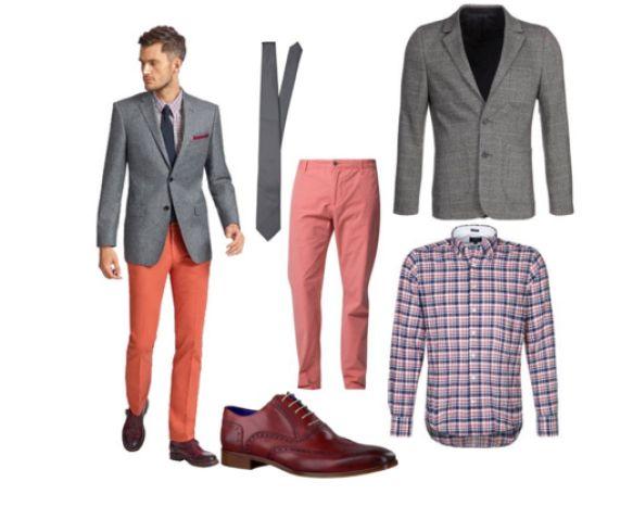 Heren mode - kleding (overhemd, zalm kleur broek, grijs colbert en blauw stropdas)