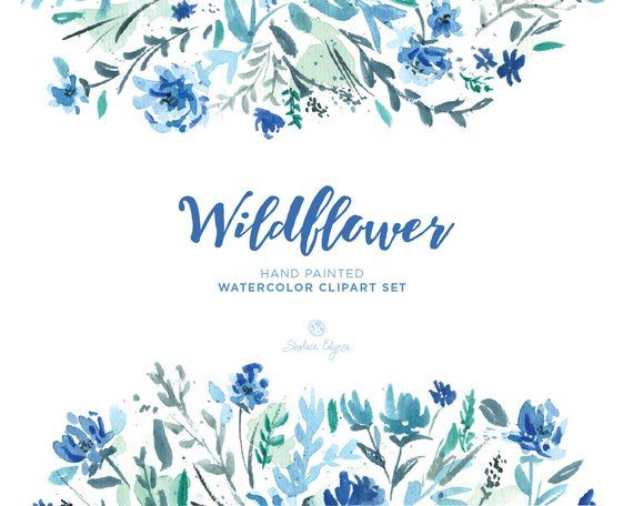 Watercolor Floral Clip Art Wildflower Blue Mint Navy