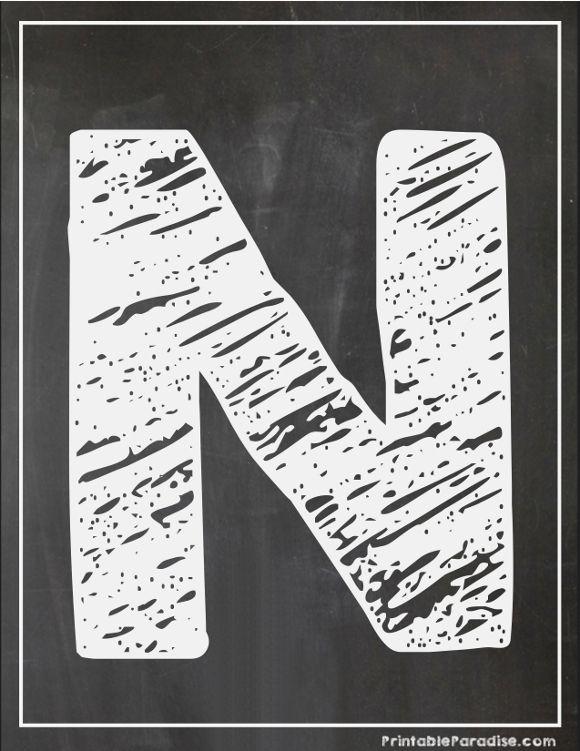Printable Letter N Chalkboard Writing