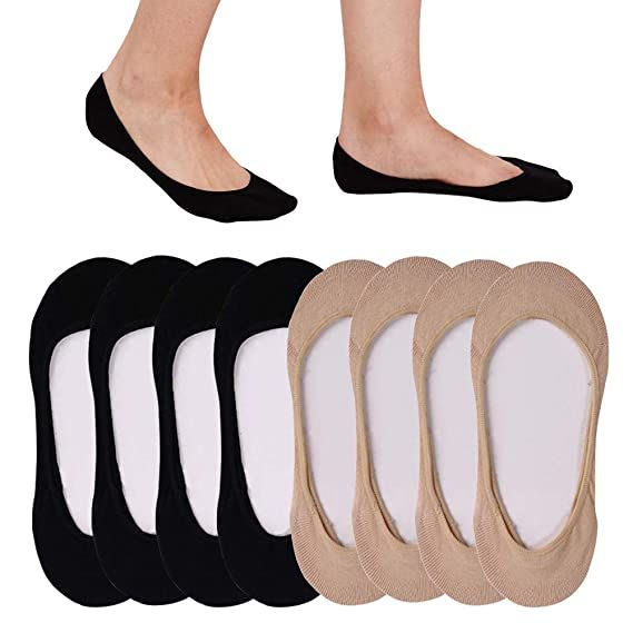 5 Pack Women/'s Ultra Low Cut Nonslip Invisible No Show Liner Socks for Flats