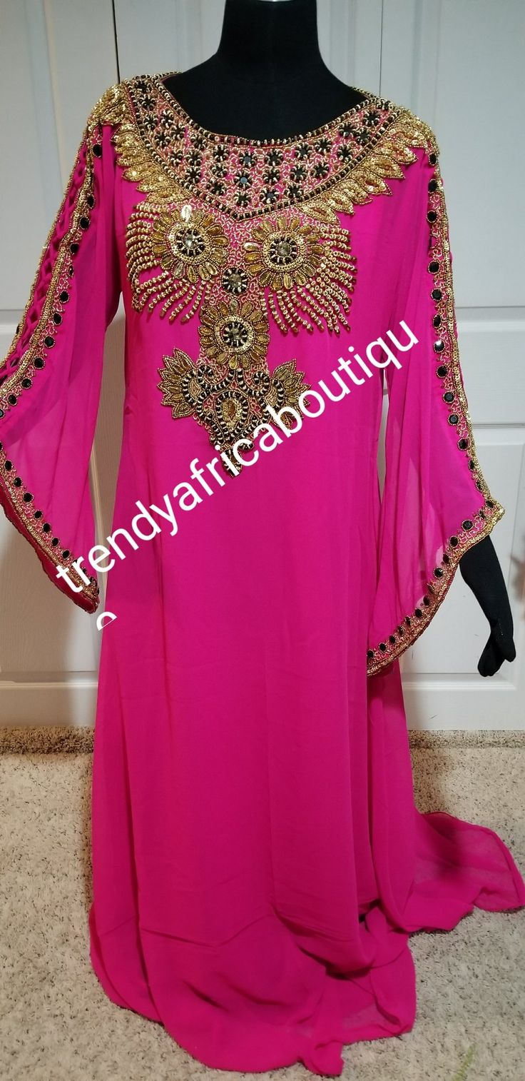 Fuschia pink Kaftan dress. Indian long Kaftan dress. Dubai free flowimg 60 inch long kaftan dress. Evening dress in Hot pink