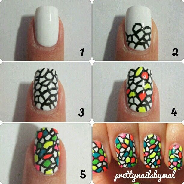 Colorful Nail Tutorial I would use nail pens. Looks like stained glass.