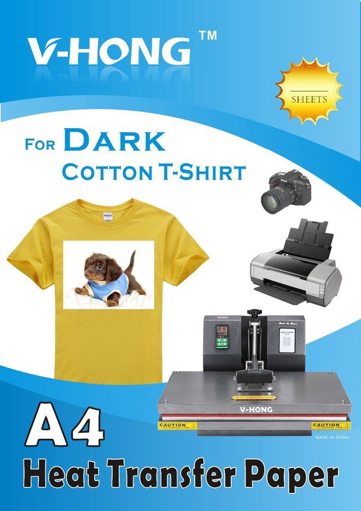 Best price US $23.90 Dark color cotton T-shirt sublimation paper clothes A4 inkjet printer heat transfer pape 20 sheets #Dark #color #cotton #Tshirt #sublimation #paper #clothes #inkjet #printer #heat #transfer #pape #sheets #OfficeEquipment
