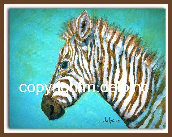 Safari Jungle theme baby Zebra print nursery blue brown animal fine art for kids