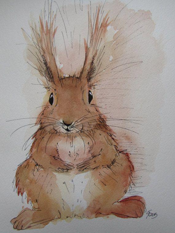 Red Squirrel original watercolour painting by HaresAndHerdwicks