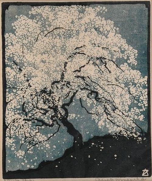yama-bato:  Arie Zonneveld Once again… link lording over the farm field… a cherry tree in bloom Issa