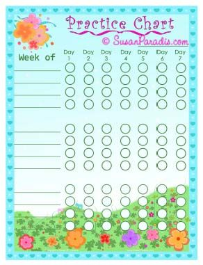 FREE printable piano practice chart Spring flowers