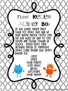 Make Indoor Recess EASY for you! FREEBIE