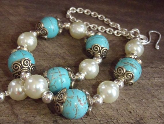 Delicate Confident Necklace  Turquoise copper by BrigittesJewels, $58.00