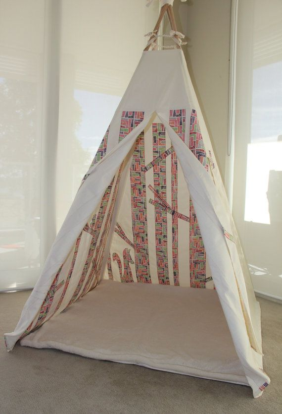 Teepee Play Tent - Secret Woodland in predominantly colourful print