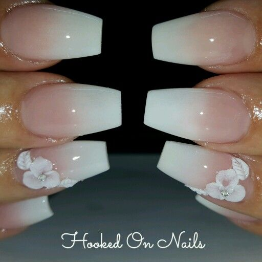 Ombre nails, 3d flower, coffin nails                                                                                                                                                      More