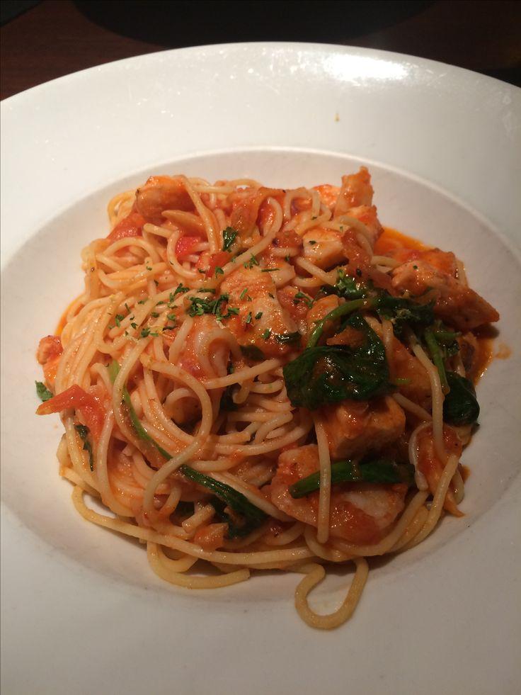 Seafood pasta from Milestones