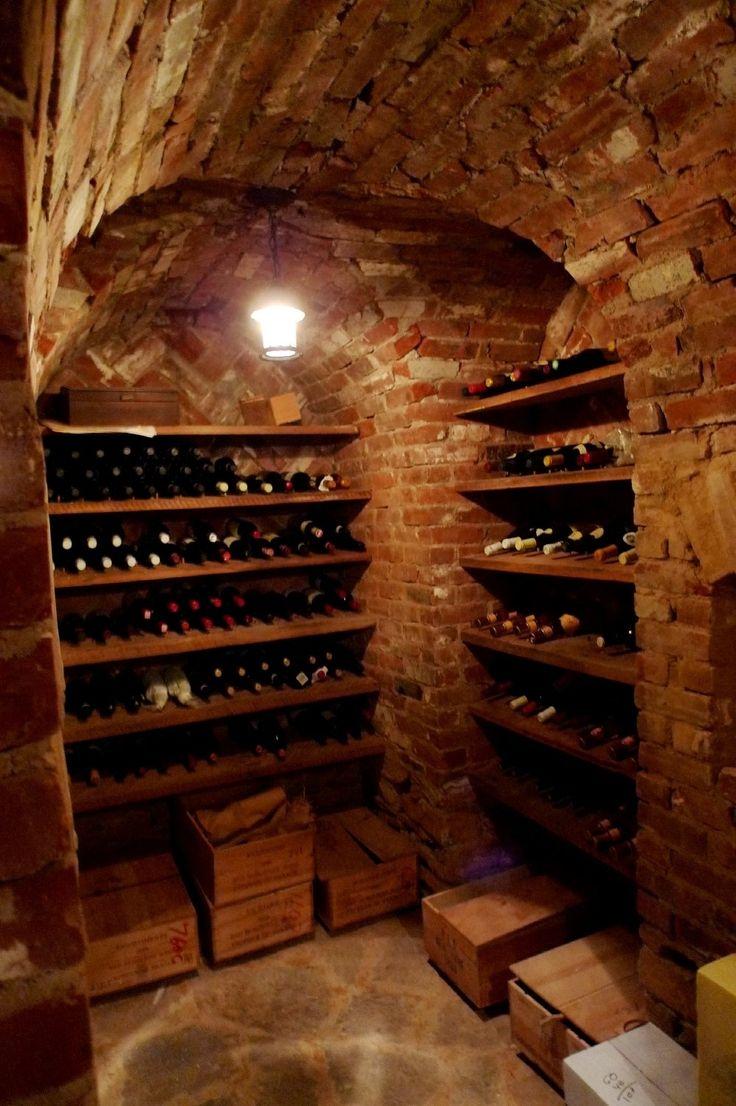 Classic brick wine cellar.  Wine cave.