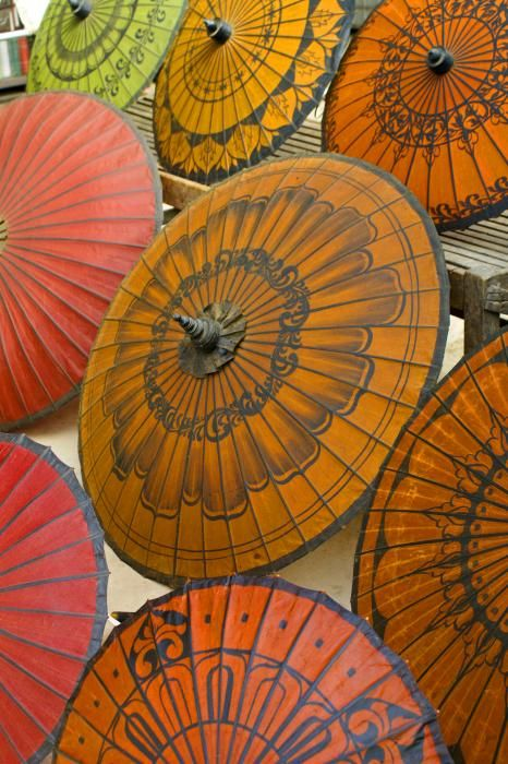 Asian umbrellas print - Michele Burgess