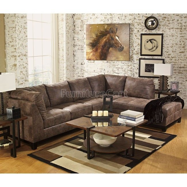 Living Room Furniture Sales: Damis Mocha Sectional Set