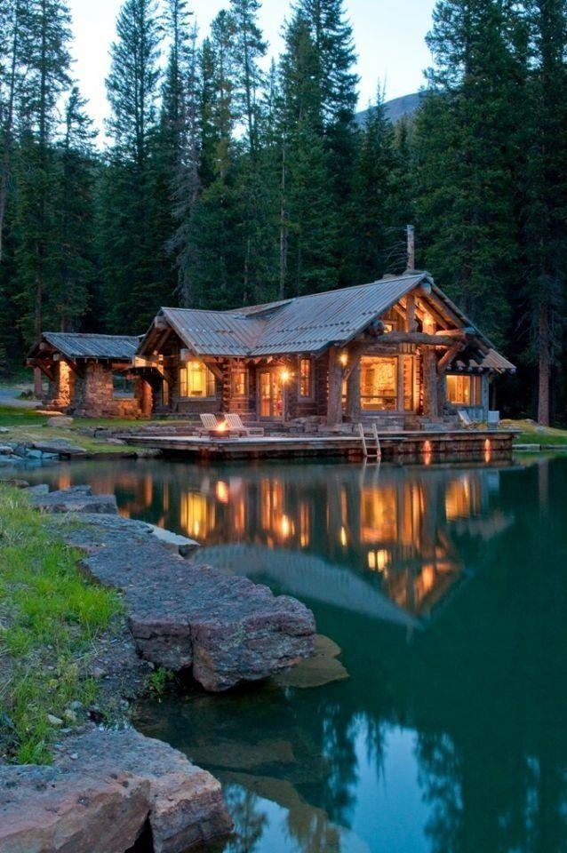 log cabin and lake