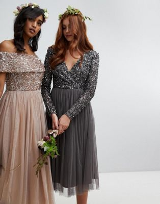 3de97f89b181 Maya long sleeve wrap front midi dress with delicate sequin and tulle skirt  in charcoal