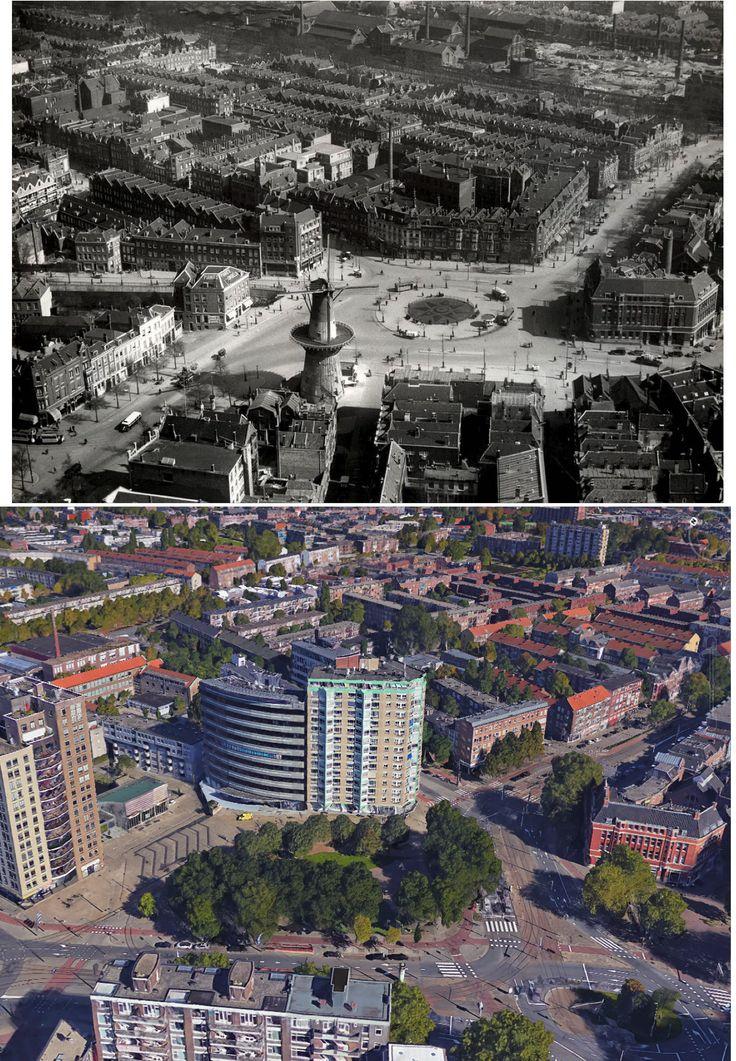 1934-2016. Oostplein  met rechts het oude pand van Amsterdam Bank. Een gevelsteen uit de poort van 1613 die herinnert aan de inval van Bossu is bewaard gebleven en ingemetseld in het bank gebouw. Onder het Oostplein zijn nog oude gemetselde gewelven.