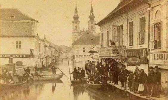 1876. A nagy árvíz a Fő utcában.