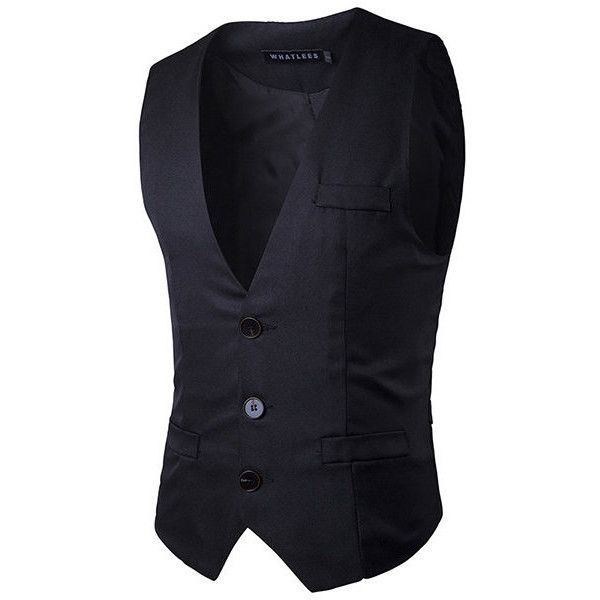 Formal business fashion slim fit casual pure color korean style single ($23) ❤ liked on Polyvore featuring men's fashion, men's clothing, men's outerwear, men's vests, black, mens vest outerwear, mens formal wear vests, mens sleeveless vest, mens slimming vest and mens formal vest