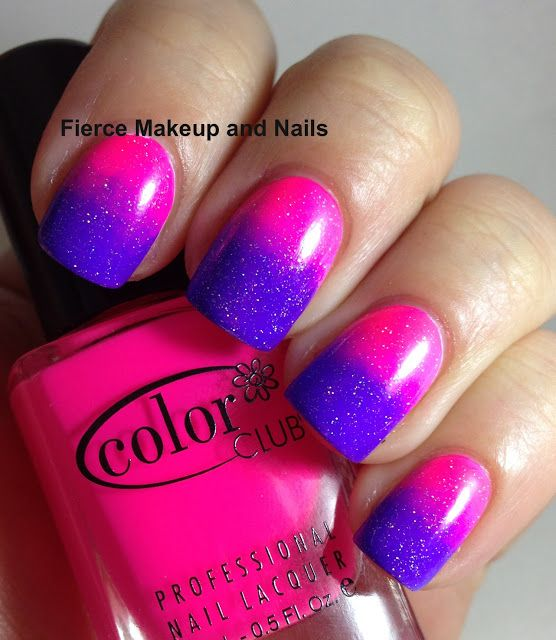 Sparkle Purple and Pink Nails